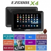 "Ezcool X4 8GB Dual Core 10.1"" HD Siyah Tablet"