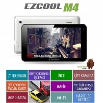 "Ezcool M4 8GB Quad Core 7"" HD Beyaz Tablet"