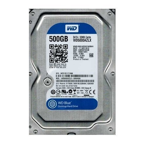 "WD Blue WD5000AZLX 500GB 7200rpm 32MB Cache SATA 6Gb/s 3.5"" 32MB Cache Harddisk"