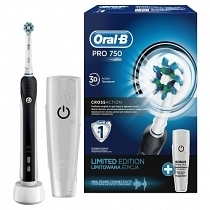 Oral-B Pro 750 Black Box+Travel Case Diş Fırçası
