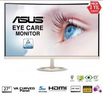 "Asus VZ27VQ 5ms HDMI/DP IPS Eye Care 27"" Full HD Curved Monitör"