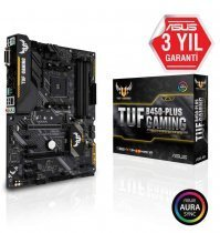 Asus Tuf B450 Plus Gaming AMD B450 Soket AM4 DDR4 3200MHz HDMI DVI M.2 USB 3.1 ATX Anakart