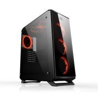 Power Boost JBST-VKG3903S USB3.0 Full Siyah Tempered Glass Halo Reguler RGB Fan Gaming Kasa (PSU Yok)