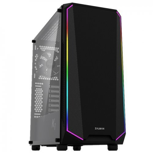 Zalman K1 USB 3.0 Midi-Tower Temperli Cam RGB LED Fan Siyah Gaming(Oyuncu) Kasa