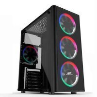 Power Boost VK-G2080C USB 3.0 Single Ring Rainbow Fan Pencereli ATX Siyah Mid-Tower Gaming Kasa