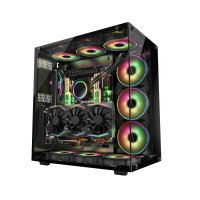 GamePower WARCRY Temperli Cam ATX ARGB Gaming Kasa + 6 Adet ARGB Silence Fan