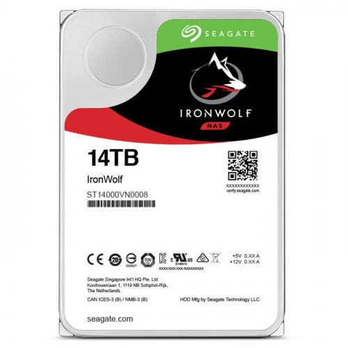 "Seagate Ironwolf 14TB 3.5"" 210MB/s 256MB SATA 3 7200Rpm NAS Disk - ST14000VN0008"